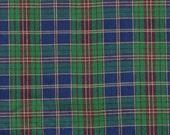 Plaid Shirting, Yarn Dyed Fabric, Dark Green, Blue and Maroon, Medium Weight Cotton, half yard, 4-oz, B1