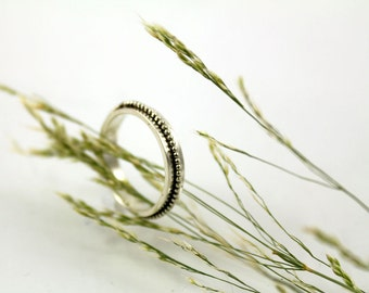 Thin silver wedding ring, promise ring, unique woman's wedding band, gift for her