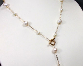 Large Baroque White Pearl Y Necklace with Cultured Fresh Water White Pearls, Various Sizes, Bride's Necklace, 14k Gold Filled Necklace