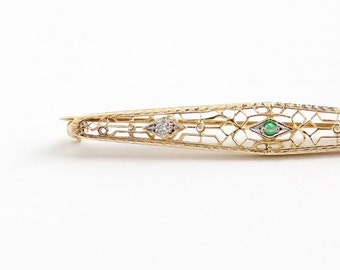 Sale - Antique 14k Yellow Gold Emerald & Diamond Filigree Bar Pin - Vintage Art Deco 1920s Green Gem Two Tone White Gold Fine Jewelry Brooch