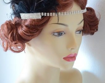 READY TO SHIP, Black Feather headband, rhinestone headband, art deco headband, vintage headpiece, flapper, Gatsby headband, Black, Bridal