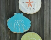 Set Of 3 Tropical Wall Hangings, Sea Shells, Sand Dollar, Island Style, Coastal Living