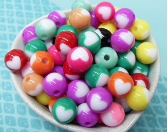 25x 12mm Colorful Heart Resin Globe beads in cute colours