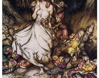 Goblin Market,  Arthur Rackham, Vinatge Art Print