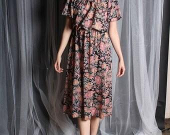 Dress 70s Vintage 1970s  Split Shoulder  Black Floral Ruffle  Flutter S Small M Medium