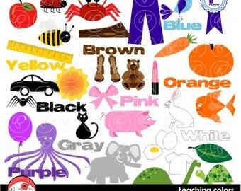 Teaching Colors Clipart: Digital Clipart Pack (300 dpi) School Teacher Clip Art Words Colors Kindergarten Pre-K