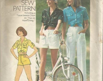 1970s Midriff Tie Front Shirt Pants Shorts Patch Pockets How to Sew Pattern Simplicity 7333 Size 10 Bust 32.5 Women's Vintage Sewing Pattern