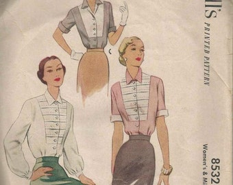 1950s Ladies' Blouse Tucked Bib Yoke Shaped Collar Long or Short Cuffed Sleeves McCall's 8532 Size 16 Bust 34 Women's Vintage Sewing Pattern