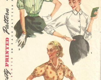 b852d75fac 1950s Blouses Short Sleeve Three Quarter Sleeve Raglan Sleeves Simple to  Make Simplicity 1692 Size 12 Bust 32 Women's Vintage Sewing Pattern