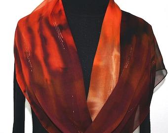 Silk Scarf Handpainted.Brown, Tan, Orange Terracotta Hand Painted Shawl. Handmade Silk Wrap AUTUMN STORY. Extra Long 11x90. Birthday Gift