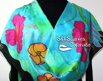Silk Scarf Hand Painted Silk Shawl Turquoise Teal Black Hand Dyed Silk Scarf HAWAII PARADISE, in 2 SIZES. Birthday Gift Scarf Gift-Wrapped