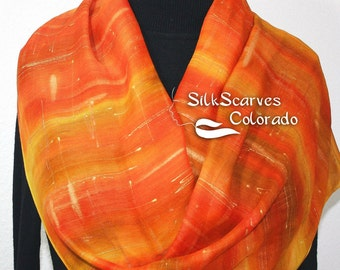 Hand Painted Silk Wool Scarf. Orange, Yellow Warm Silk-Wool Scarf SUNSHINY DAY. Silk Scarves Colorado. Large 14x68. Women Gift. Mother Gift