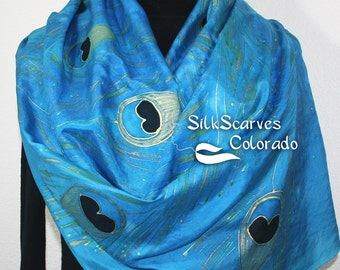 Silk Scarf Turquoise, Blue Hand Painted Silk Shawl TURQUOISE PEACOCK FEATHERS, in 3 Sizes. Silk Scarves Colorado Birthday Gift. Gift-Wrapped