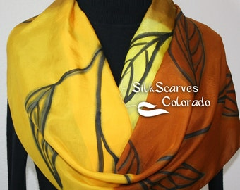 Silk Scarf Yellow, Terracotta, Brown Hand Painted Silk Shawl EARTH SONG. Large 14x72. Silk Scarves Colorado. Birthday Gift. Gift-Wrapped.