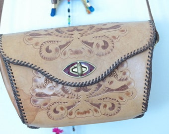 Reversible Handtooled Leather Bag
