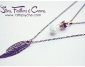 Layered boho necklace set, glass bottle necklace, Feather and glass Bottle necklace,double strand necklace,feather pendant, gift for women