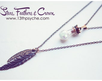 Double Layered necklace , layering pendant, Feather and glass Bottle necklace, boho double strand necklace, stars christmas gift for women