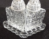 Chippy Slightly Shabby Vintage Set Pressed Glass Salt and Pepper Shakers Kitchen Glass Collectible Condiment Dining Table Accessory