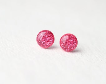 Pink Sparkles - Glitter Stud Earrings