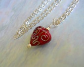 Long Casual Necklace, Silver Red Heart Pendant, 24 inch Chain Necklace, Large Red Heart, Valentine's Day, Red Silver Pendant Necklace