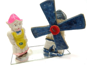 Bisque Dutch Girl Doll with Turning Windmill on Glass Mirror - Vintage - Made in Japan