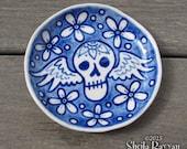 Sugar Skull Dish - memento mori day of the dead cobalt blue delft pottery ceramic