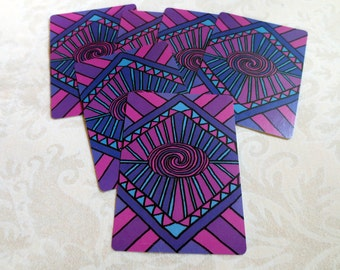 6 Purple and Pink Patterned Cards