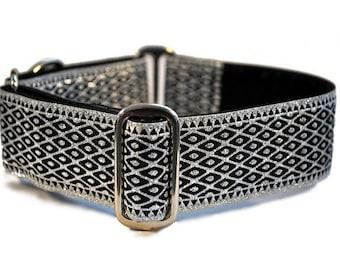 Martingale Dog Collar or Buckle Dog Collar -  Lattice Jacquard in Silver - 1.5 Inch