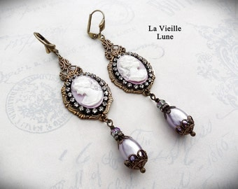 Amethyst Cameo Victorian Earrings, Victorian Jewelry, Art Deco Jewelry