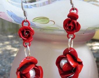 Red Rose Dangle Earrings with Faux Pearls Handmade Jewelry