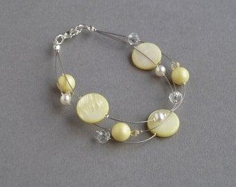 Lemon Floating Pearl Bracelet - Pastel Yellow Bridesmaid Gifts - Light Yellow Multi-strand Bracelets - Pale Yellow Wedding Party Jewellery
