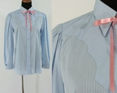Vintage Seventies Western Blouse - 1970s Blue Button Down Shirt - 70s Ranch Wear Pearl Snap Blouse