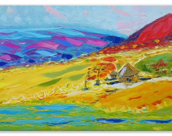 Ethiopian noon - art village valley relax painting wall decor home field hanging art green canvas original painting landscape impasto oil