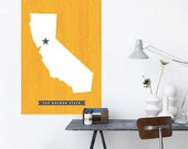 California State Wall Decal Printed Fabric Peel and Stick Wall Cling - California Republic - The Golden State Wall Art WAL-2248
