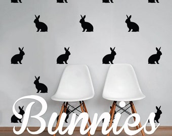 Bunnies Wall Decal Pack, Animal Vinyl Wall Sticker Decal Art Pattern WAL-2214