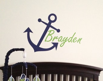 Nautical Nursery Decor - Anchor with Boy's Name Wall Decal - WAL-2102