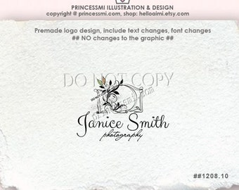 1208-10 photography logo, doodle camera logo, hand drawn camera logo, Premade Logo Design, sketch camera watermark by princessmi