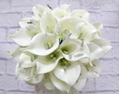 Calla lily bling Wedding bouquet white real touch bridal bouquet