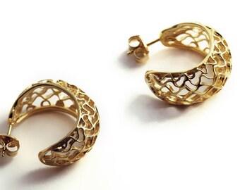Gold honey bee earrings, Gold earrings, Honeycomb earrings, Organic Jewelry, Hoops Gold earrings, Earrings gift, Hive earrings, Bee gift