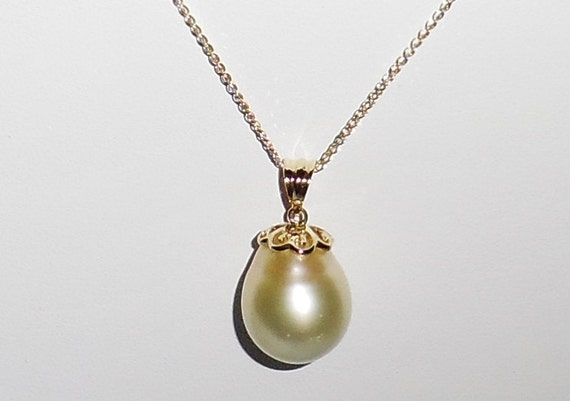 MASSIVE 17mm Natural Australian South Seas Pearl, SOLID 14kt gold Braided Wheat Chain Necklace