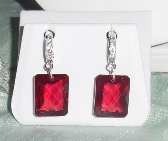 71cts Natural Emerald CKB Red Topaz gemstones, Sterling Silver Omega CZ's Pierced Earrings