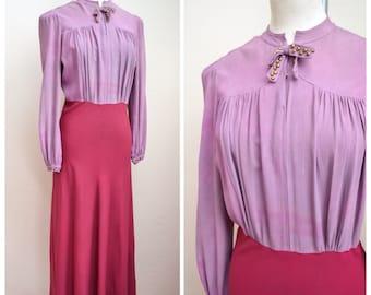 1930s Mauve crepe bias cut studded evening dress / 30s full length gown - XS S