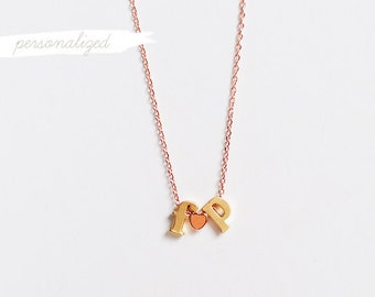 Personalized Lowercase Letters + Heart Necklace