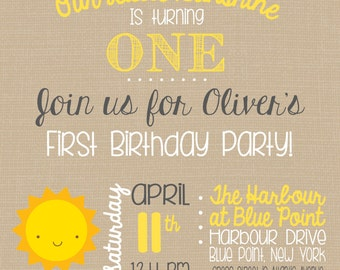 Birthday Party Invitation - You Are My Sunshine - Sunshine Theme - Yellow and Gray - Boy or Girl Birthday - Customize - Printable - 5x7 inch
