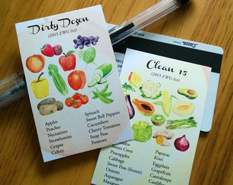 Dirty Dozen and Clean 15 Produce List Printable Wallet Guide (2015)
