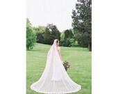 Wedding Veil, Floor Length Wedding Veil, Lace Veil, French Lace Veil, Chapel Veil,  Bridal Veil, Tulle Veil,