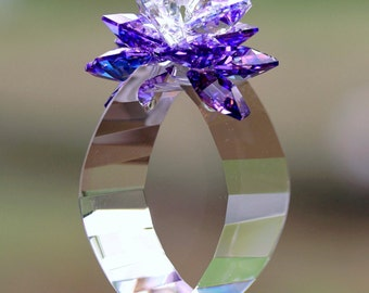 "Suncatcher m/w Swarovski RARE Aurora Borealis Blue Violet Octagons + 2"" Finely Cut Crystal View Energy Gate Prism, Pearl Place N More"