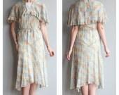 1930s Dress // Charleston Floral Day Dress // vintage cotton 30s dress