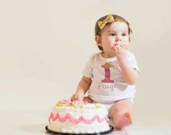 Personalized 1st Birthday shirt bodysuit crown first birthday baby girl toddler glitter shirt ONE Pink Gold Glitter Birthday Girl