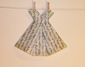 Large Origami Dress Floral small roses striped